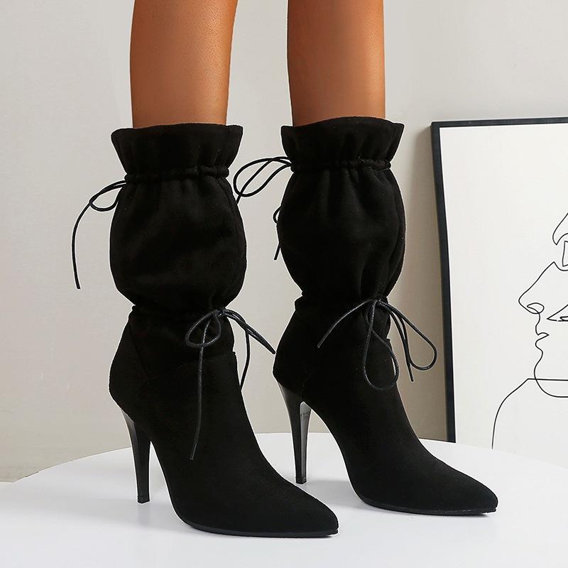 Ericdress Pointed Toe Stiletto Heel Slip-On Banquet Boots
