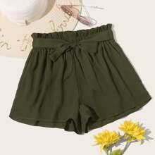Shorts mit Papiertasche Taille und Guertel