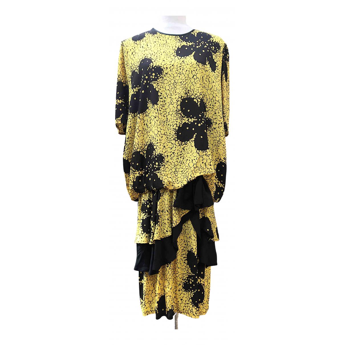Non Signe / Unsigned Oversize Kleid in  Bunt Seide