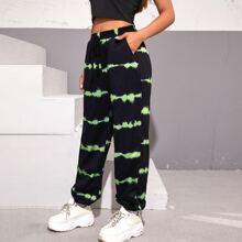 Pantalones deportivos de Tie Dye de cintura con cordon