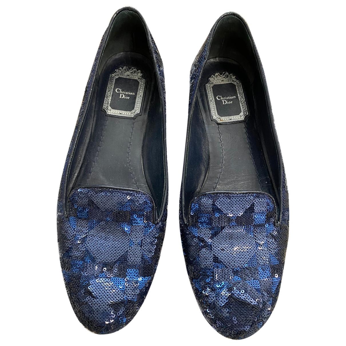 Dior \N Ballerinas in  Blau Mit Pailletten