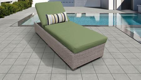 Florence Collection FLORENCE-1x-CILANTRO Wicker Patio Chaise - Grey and Cilantro