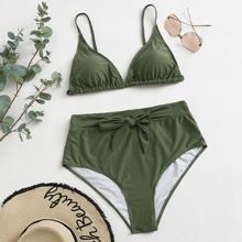 Dreieckiger Bikini Badeanzug mit Knoten vorn und hoher Taille