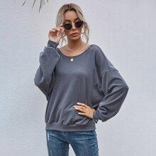 Drop Shoulder Solid Sweatshirt