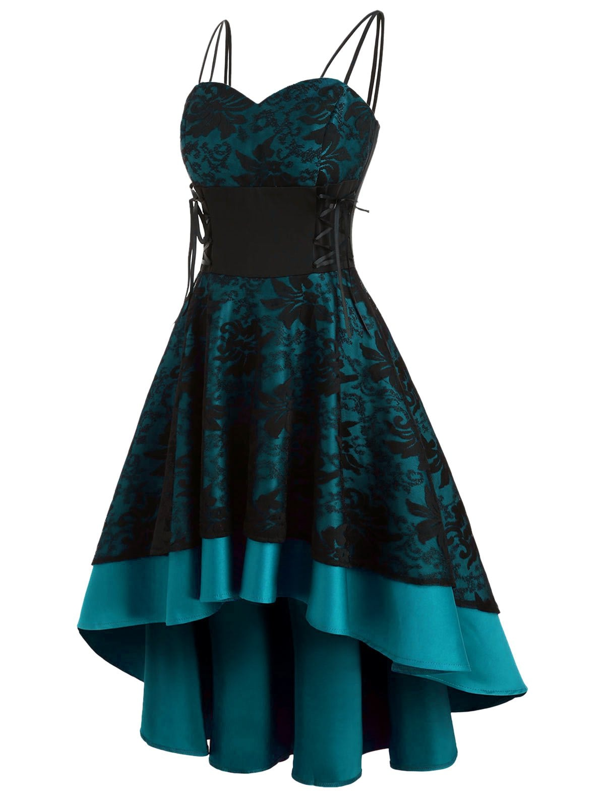 Lace Up Empire Waist Dip Hem Party Dress