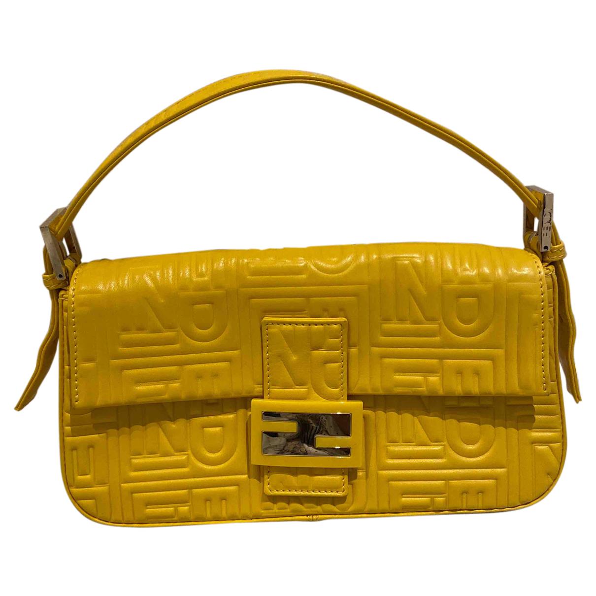 Fendi - Sac a main Baguette pour femme en cuir - jaune