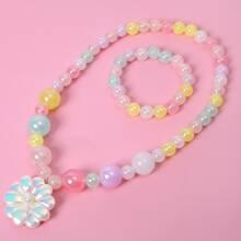 2pcs Toddler Girls Flower Decor Beaded Jewelry Set