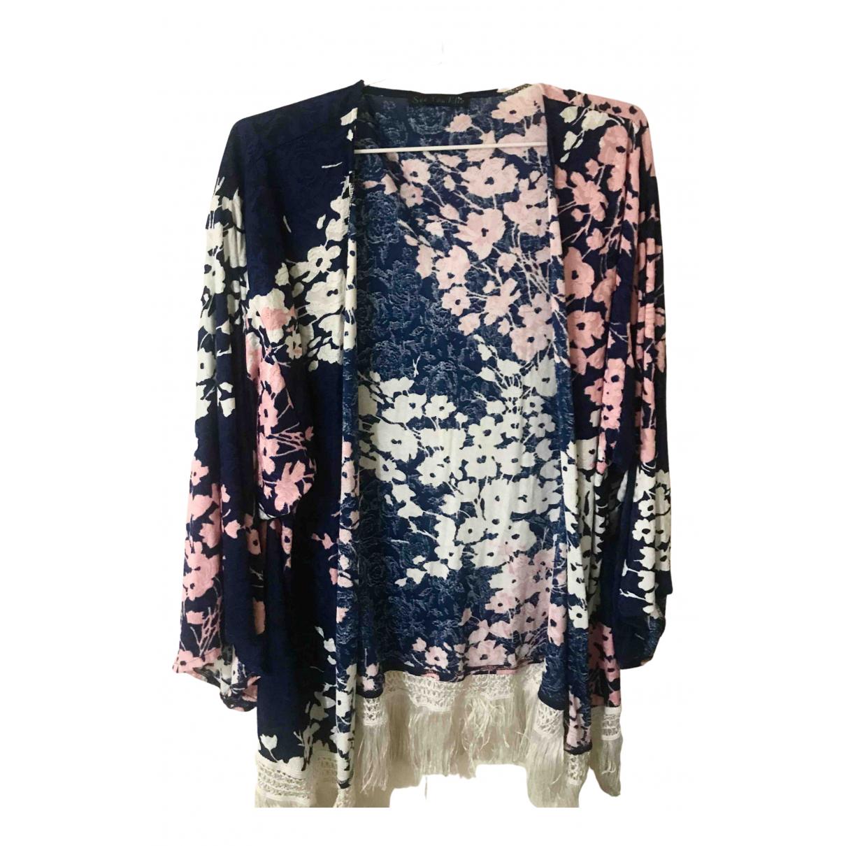 - Veste Kimono pour femme en soie - multicolore