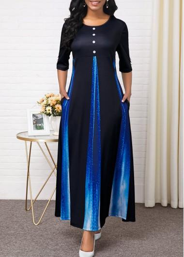 Women'S Black Half Sleeve Vintage Fall Dress Ombre Dip Dye Maxi Casual Dress By Rosewe - L