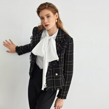 Tweed Blazer mit eingekerbtem Kragen, Knopfen vorn und ungesaeumtem Saum