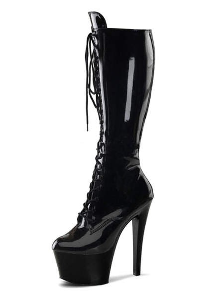 Milanoo Women Sexy Boots Round Toe Lace Up Stiletto Heel Rave Club Black Stripper Shoes