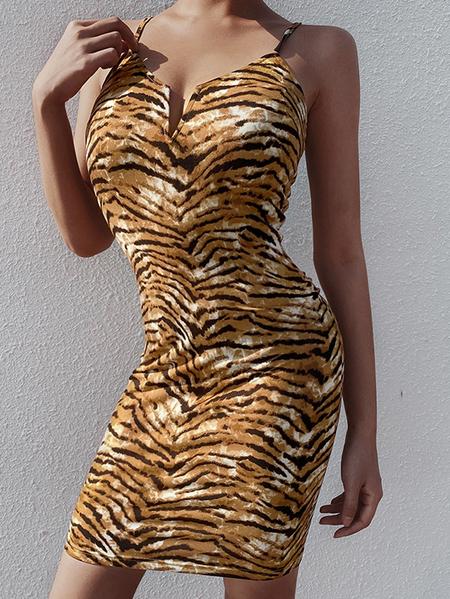 Yoins Yellow Tiger Animal Print Deep V Neck Dress