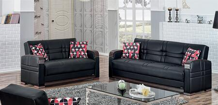 Bronx Collection SET-BRONX 2 PC Living Room Set with Sofa + Loveseat in Black