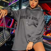 Letter Graphic Drop Shoulder Drawstring Longline Hoodie