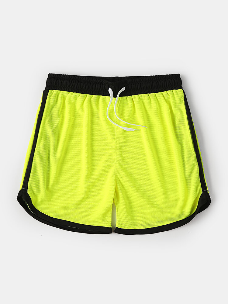 Mesh Colorblock Quickly Dry Swim Trunks Drawstring Gym Running Sports Shorts With Pockets