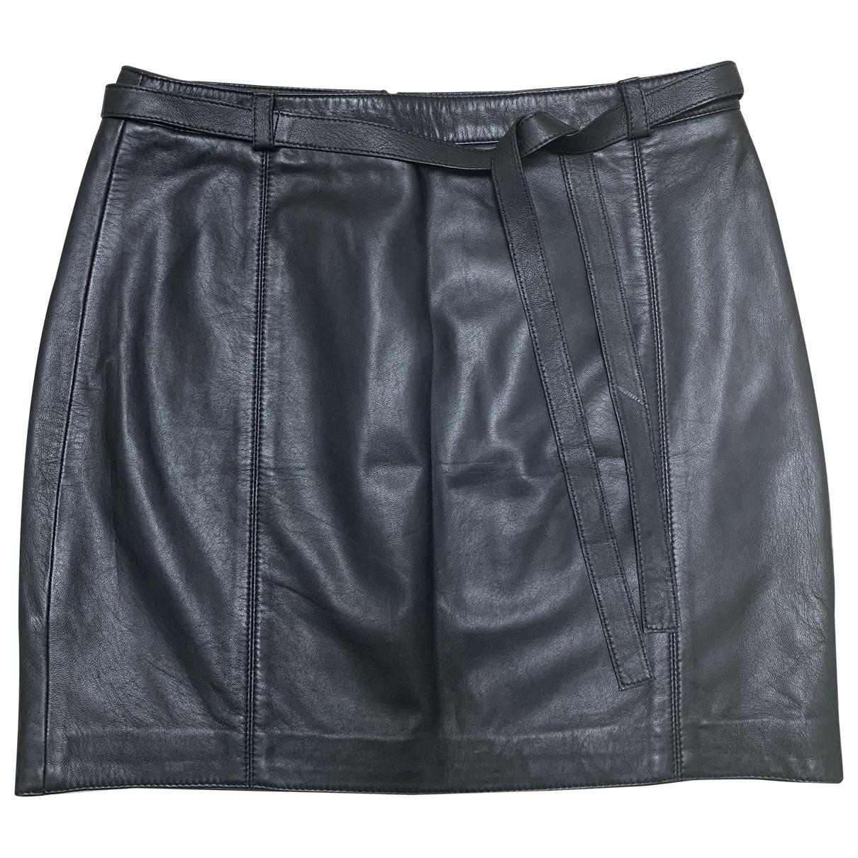 Massimo Dutti - Jupe   pour femme en cuir - noir
