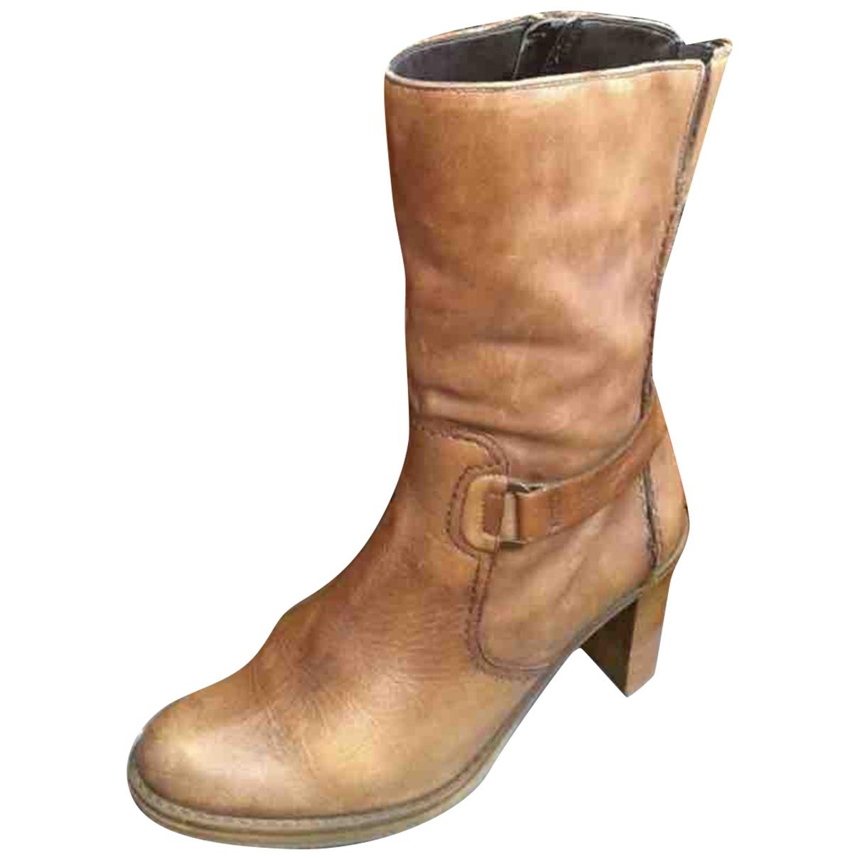 Clarks - Bottes   pour femme en cuir - camel