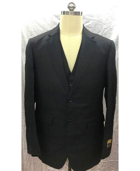 Mens Single Breasted 2 Button Black Linen Vest Suit