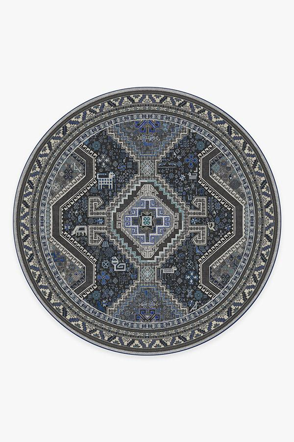 Washable Rug Cover | Zareen Steel Blue Rug | Stain-Resistant | Ruggable | 8' Round