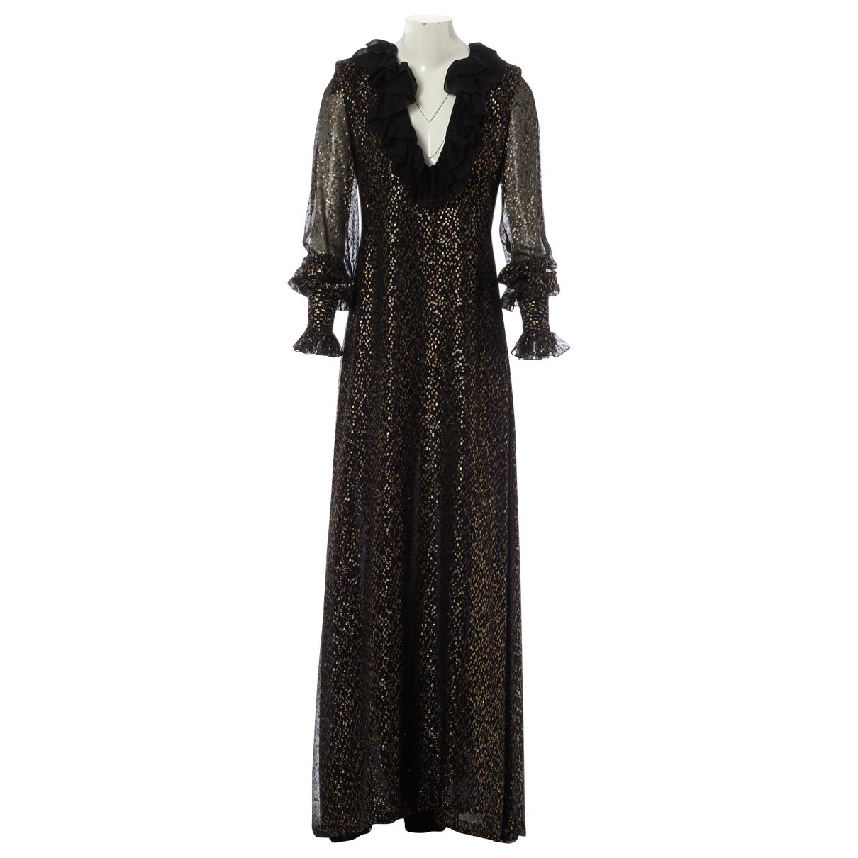 Saint Laurent \N Kleid in  Schwarz Seide