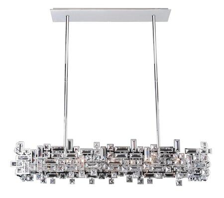 Vermeer 11199-038-SE001 8-Light Island in Brushed Champagne Gold Finish with Swarovski Elements Clear