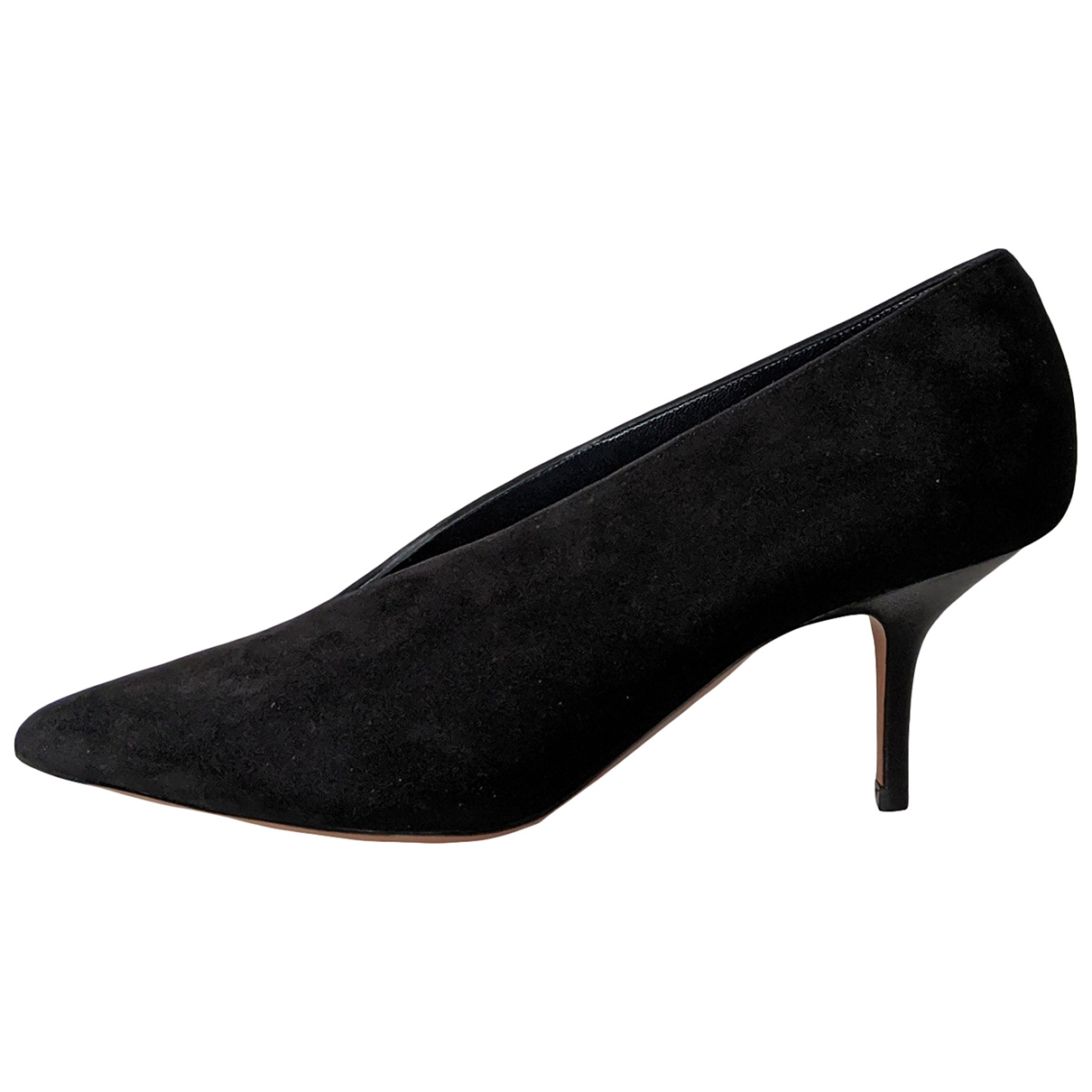 Celine Soft V Neck Black Suede Heels for Women 38 EU