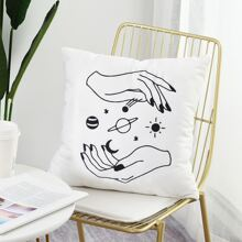Planet & Hand Print Cushion Cover Without Filler