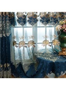 European Royal Style Delicate Floral Embroidery Custom Sheer Curtain