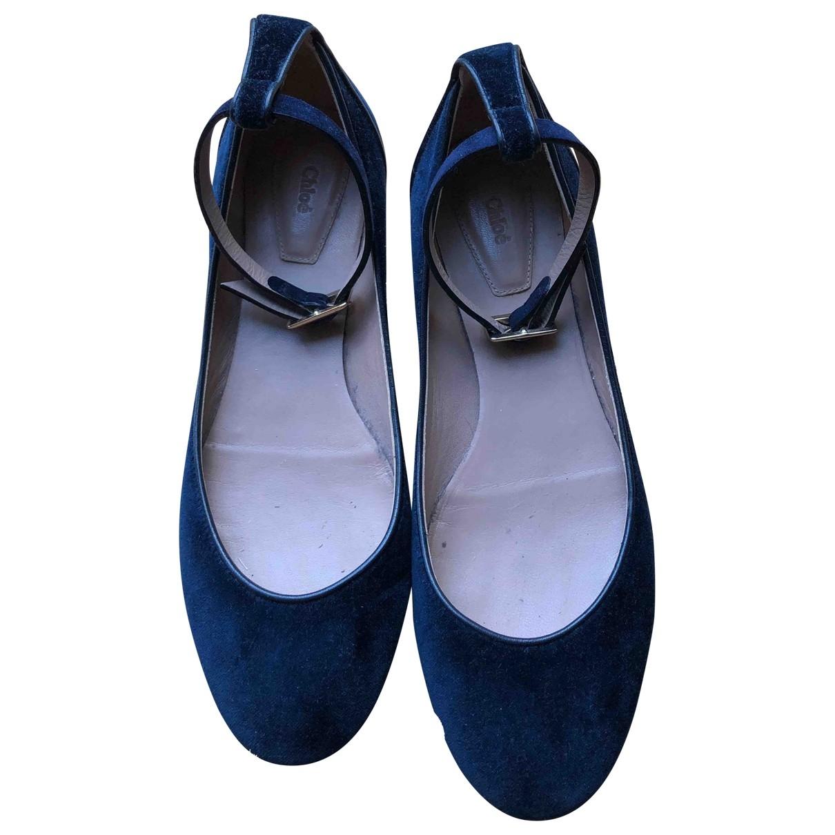 Chloe \N Ballerinas in  Blau Samt