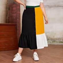 Plus Colorblock Buttoned Front Flippy Hem Skirt