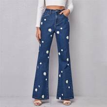 Jeans mit hoher Taille, Blumen Muster und ausgestelltem Beinschnitt