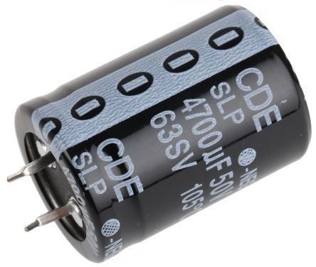 Cornell-Dubilier 4700μF Electrolytic Capacitor 50V dc, Through Hole - SLP472M050C5P3