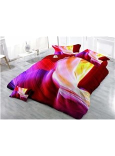 Colorful Cave Wear-resistant Breathable High Quality 60s Cotton 4-Piece 3D Bedding Sets