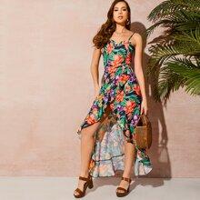 Kleid mit Raffung und Pflanzen Muster