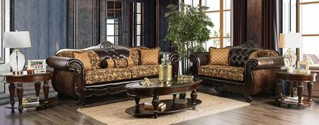 Qurino SM6417-SFLV 2-Piece Living Room Sets with Sofa and Loveseat in Tan and Dark