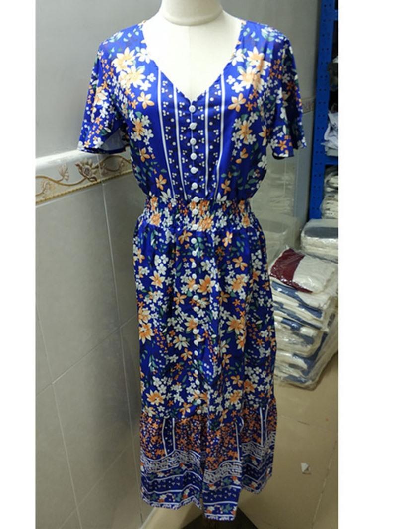 Ericdress Mid-Calf Print Short Sleeve Single-Breasted Women's A-Line Dress