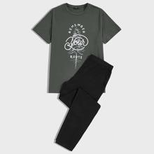 Conjunto de pijama de hombres top con estampado de slogan con pantalones