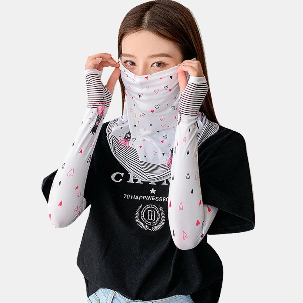 Cute Printed Mask Cover Sleeve Veil Ice Sleeve Ice Silk Sleeve Female Ew Summer Sunscreen