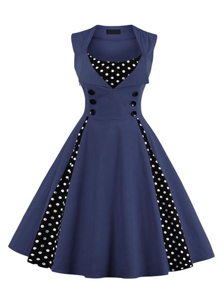 Milanoo Vintage Dress 1950s Pink Woman Sleeveless Jewel Neck Rockabilly Dress