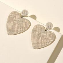 Faux Pearl Decor Heart Drop Earrings