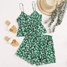 Plus Daisy Floral Print Cami Top & Shorts
