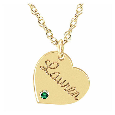 Personalized Birthstone Name Heart Pendant Necklace, One Size , Yellow