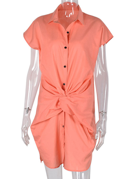 Milanoo Dresses Shirt Dresses Midi Dress Blue Turndown Collar Buttons Short Sleeves Cotton Blend Stripes Knotted