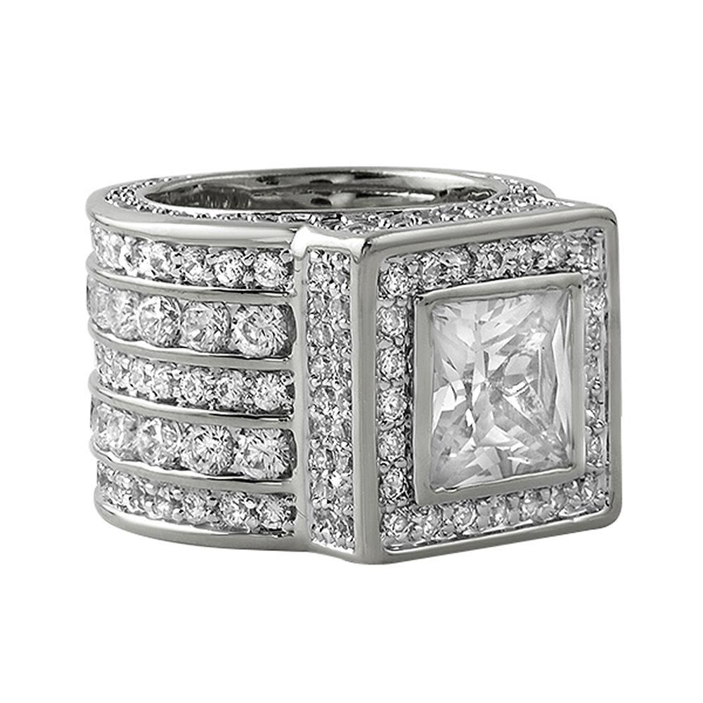 .925 Silver Square President CZ Bling Bling Ring