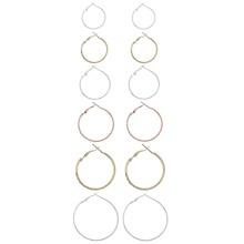 Two Tone Hoop Earring Set 6pairs
