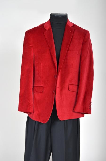 Mens Velvet Sport Coat Red