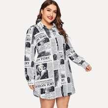 Vestido estilo blusa con estampado de letra-grande