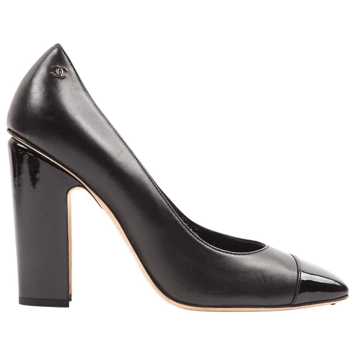 Chanel \N Black Leather Heels for Women 39.5 EU