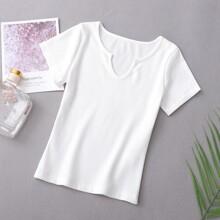 Weiss Rippenstrick Einfarbig Laessig T-Shirts