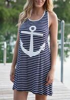 Striped Splicing Anchor Sleeveless Mini Dress
